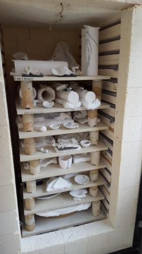 Main kiln packed for a glaze firing