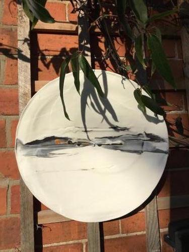 'Silver Lining' Parian wall disc 39cm dia
